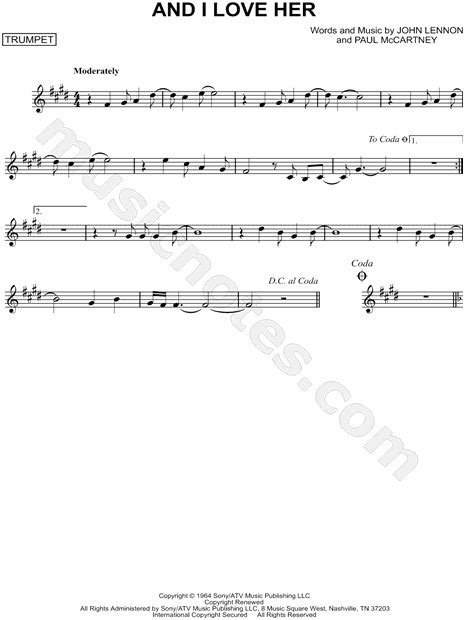 the beatles quot and i quot sheet trumpet in c minor print sku