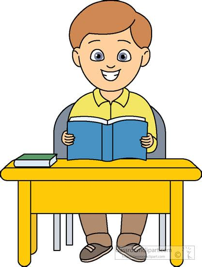 Student Sitting At Desk Clipart by School Clipart Student Sitting At Desk With Book Open