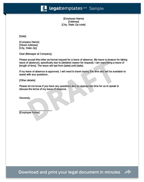 sample request letter  leave  pay sample