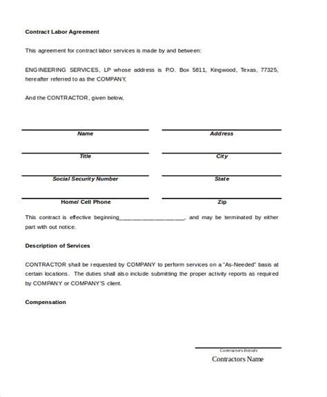 contract labor contract form sle contract agreement 8 free documents in pdf doc