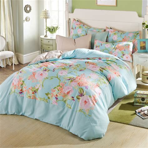 flower garden theme girl bedroom with cheap floral printed twin xl bedding sets aqua blue pink