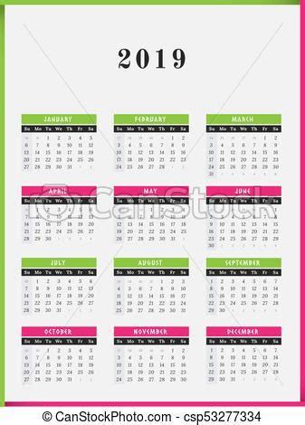 calendrier conception vertical annee couleur cadre
