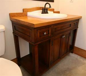 Hand Crafted Custom Wood Bath Vanity With Reclaimed Sink