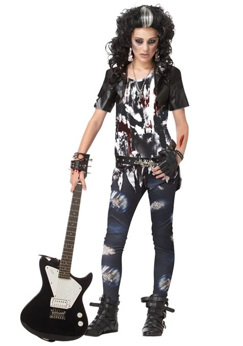 costumes zombie costume halloween tween rock star rocker teen rocked goth rocking halloweencostumes outfit classic outfits zombies gothic scary makeup