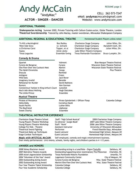 Professional Theater Resume by Resume
