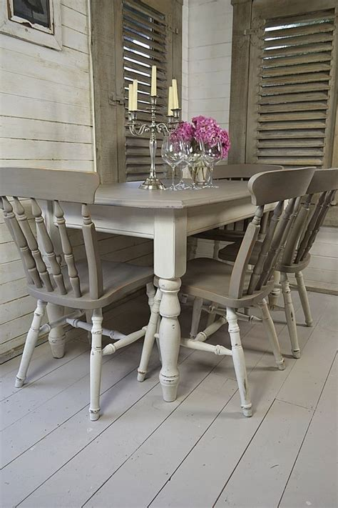grey white shabby chic dining table   chairs