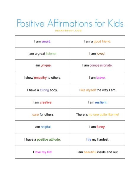positive affirmations for free printable