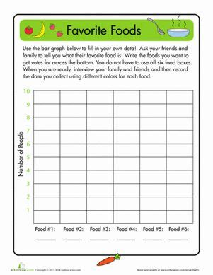 1st grade math worksheet bar graphs favorite foods bar graphs grade math worksheets