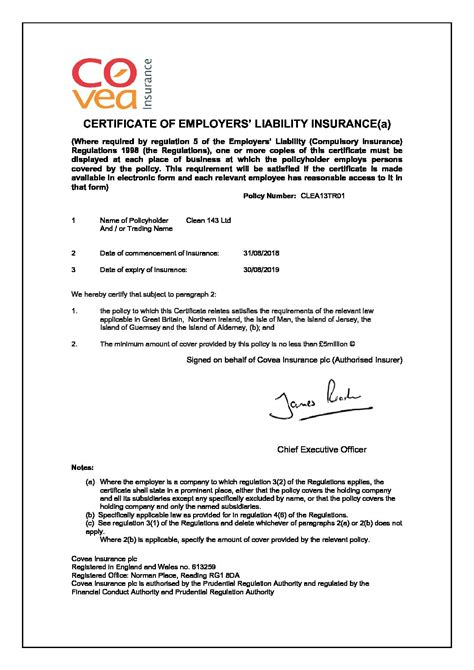 employers liability certificate clean