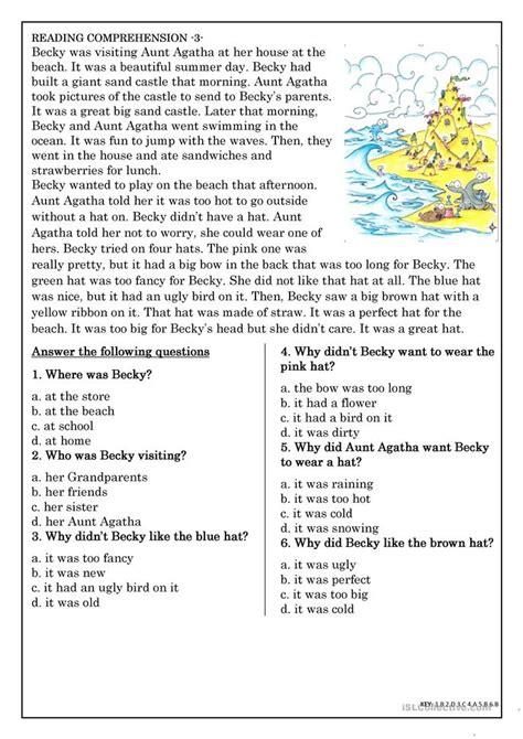 choice comprehension worksheets uk