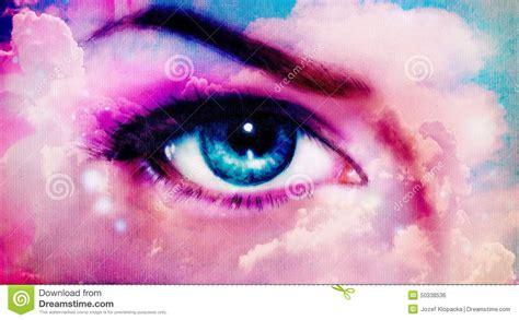 Women Eye Painting In Cloud Sky Effect,make Up Art, Eye