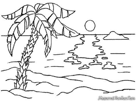 gambar mewarnai pemandangan pantai mewarnai gambar