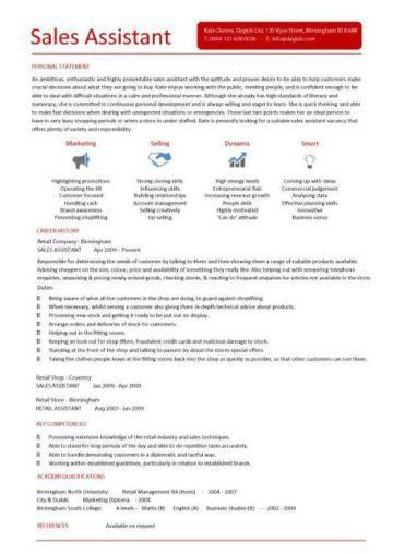 sales assistant cv  shop store resume retail curriculum vitae jobs