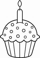 Cupcake Clip Cupcakes Outline Coloring Birthday Candle Clipart Clipartpanda Guardado Desde Dibujos sketch template