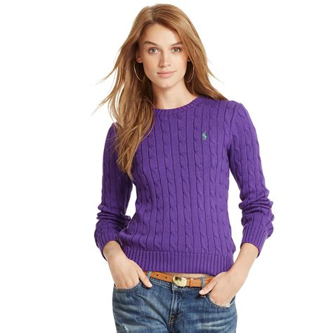 lilac sweater polo ralph cabled crewneck sweater in purple royal
