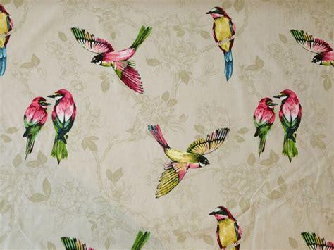 prestigious paradiso linen birds floral cotton curtain