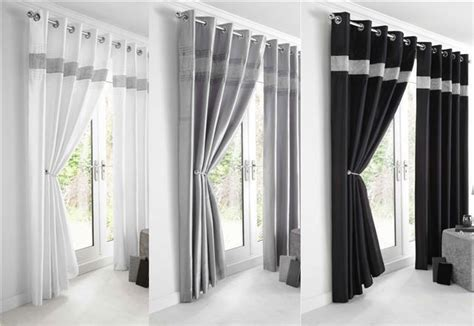 new diamante faux silk lined curtains black silver or