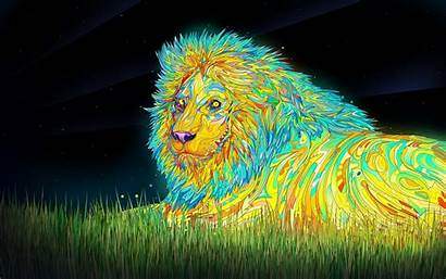 Cool Very Digital Wallpapers Colorful Psychedelic Lions