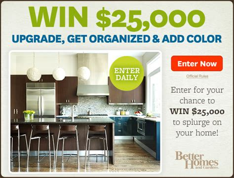better home and gardens sweepstakes deals steals contests better homes garden 25 000 upgrade get organized add color