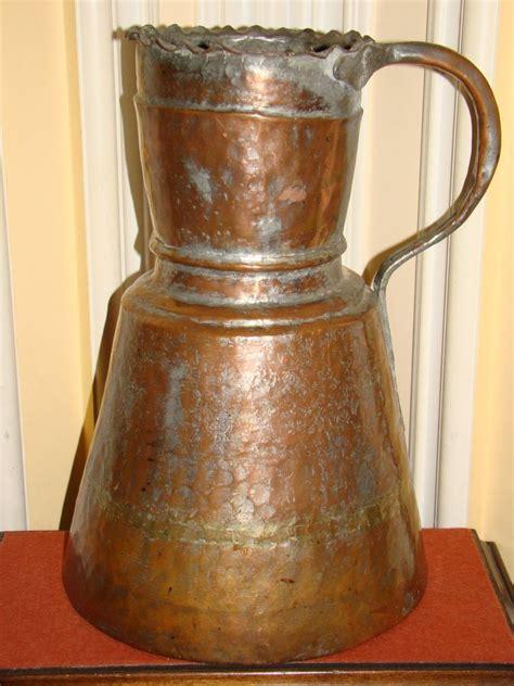 antique copper pitcher antique copper handmade hammered arabic turkish 1263