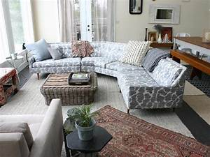 Patterned Pale Blue Circular Sectional Sofa Bed With A