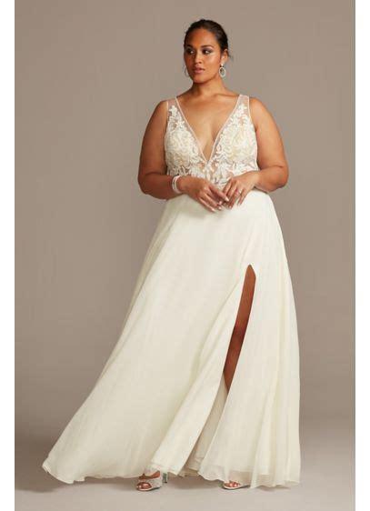 size tulle wedding dress  sheer sleeves davids