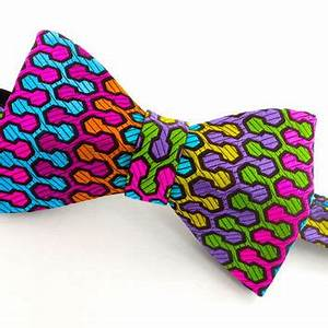 Bow Tie Mens Geometric Bow Tie Neon from VaVaNeckwear