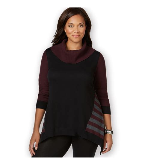style and co sweaters style co womens colorblocked handkerchief hem pullover