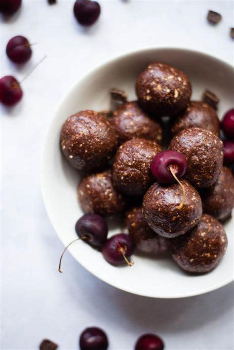 dark chocolate cherry energy bites  sweet pea chef