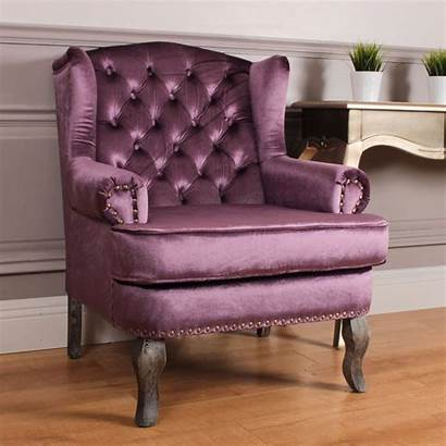 Velvet Chair Purple French Antique Wingback Chairs