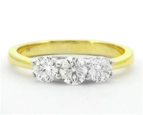 0.75 Carat Yellow Gold Trilogy Diamond Engagement Ring