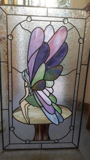 fairy  mushroom stained glass door panel stained glass quilt stained glass mosaic art