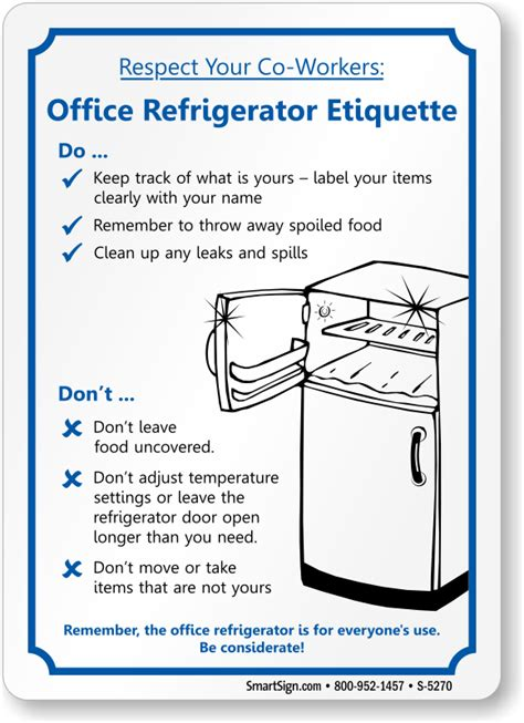 Office Kitchen Etiquette Signs by Office Refrigerator Etiquette Fridge Cleanup Sign Sku S