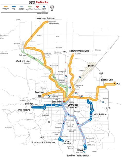 Light Rail Map by Rtd Fastracks Map Existing And Future Lines Denver