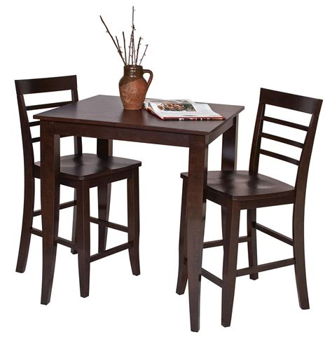 pub table and two chairs 3 pc set espresso wood bar bistro square pub table 2 pub