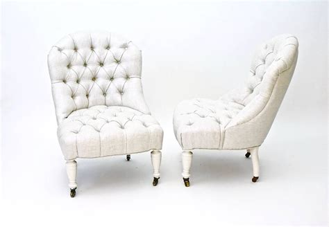 antique tufted slipper chairs pair newly upholstered in