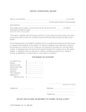 Bill Of Sale Form Conditional Waiver Of Lien Forms Bill Of Sale Form Michigan Partial Conditional Waiver