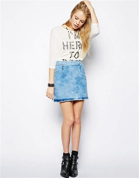 light blue jean skirt asos asos a line denim skirt in light blue