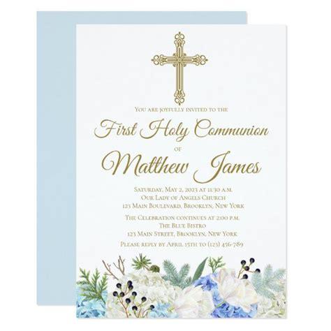 Elegant Floral First Holy Communion Invitation Zazzle