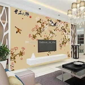 Elegant Bird And Flower Wallpaper Custom 3d Wall Mural ...