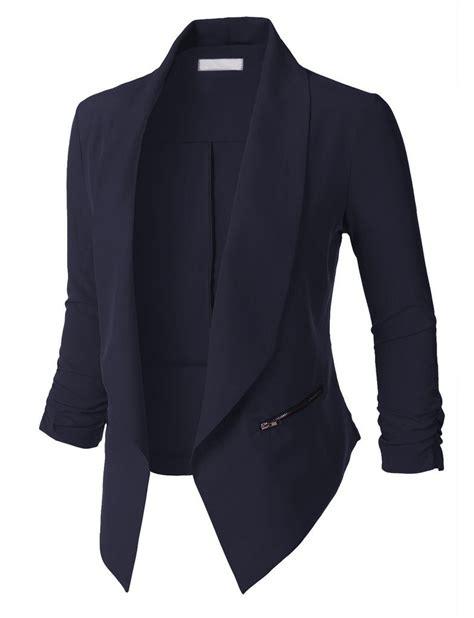 Womens Open Front Ruched 34 Sleeve Blazer Jacket Blazer