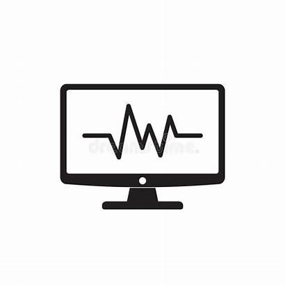 Monitoring Icon Heart Symbol Lineart Flat Illustration