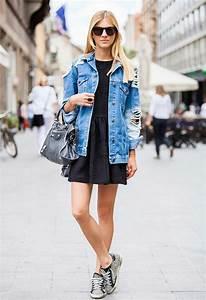 Kleid Mit Jeansjacke : 81 coole damen jeansjacke modelle ~ Frokenaadalensverden.com Haus und Dekorationen