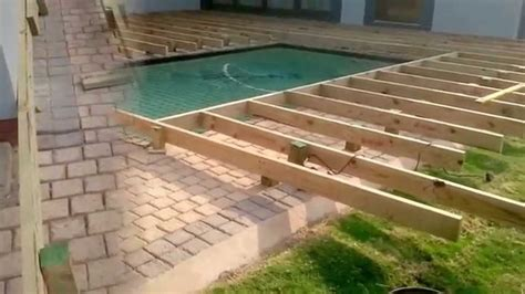 pool decking building a wooden pool deck youtube