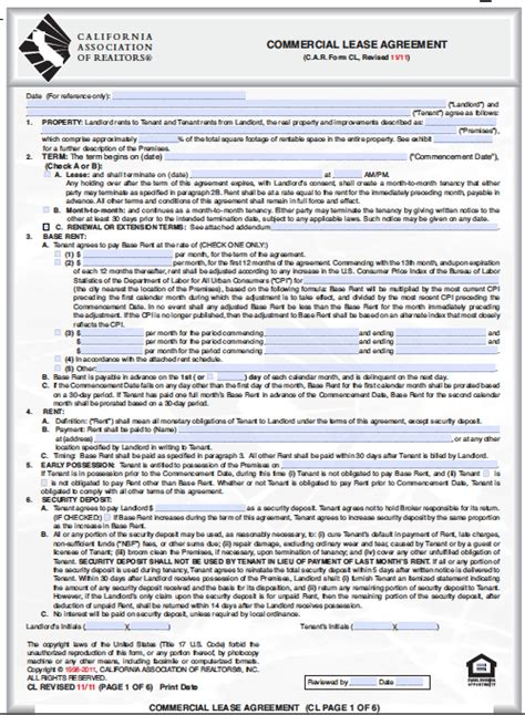 California Lease by Free California Commercial Lease Agreement Template Pdf