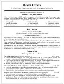 exle of a college graduate resume resume sle for marketing associate new graduate