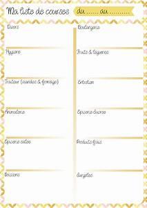 Listes De Courses : s lection de 10 menus et listes de courses imprimer ~ Nature-et-papiers.com Idées de Décoration