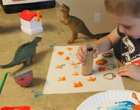 Preschool Art Stamping With Paint