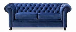canape 3 places velours bleu fonce chesterfield miliboo With tapis de yoga avec canapé chesterfield velours 3 places