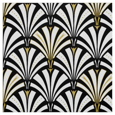 deco pictures uk deco fan pattern black and white fabric zazzle